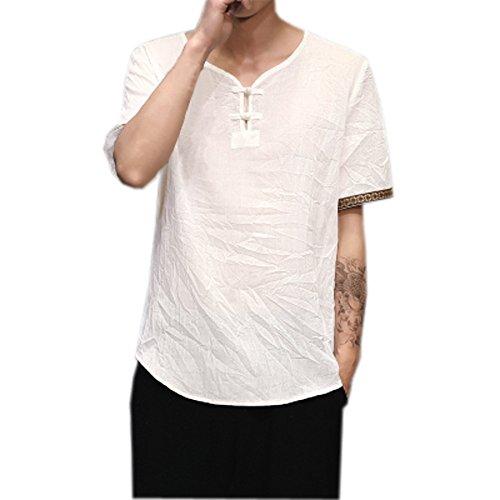 Uomo camicia in lino taglie forti, estate elegante maglietta a manica corta spiaggia regular fit uomo colore puro classico lavoro shirts, m-xxxxxl, modaworld