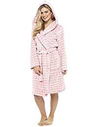 6d56ec547b Ladies Heart Fleece Dressing Gown Robe Embossed Luxury Print Shawl Pink  Grey Size UK 8 10