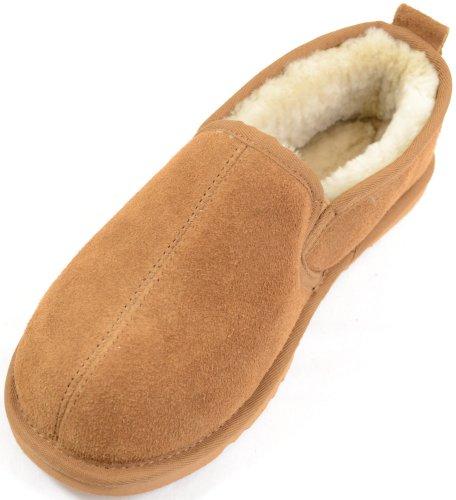 Herren Echtes Schafsfell Gefüttert Chestnut Hausschuh mit Hart Sohle. Größen 6 to 13 - EU 40 (Harte Herren Sohlen Hausschuhe)