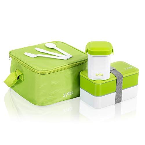 Portapranzo/bento giapponese, con 2 scomparti, contenitore salvagoccia per zuppe, borsa termica, senza bpa, plastica adatta al microonde, con posate incluse verde