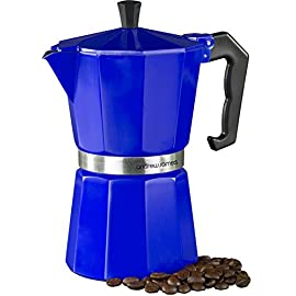 Andrew James Espresso Maker Percolator Moka Pot In Blue, 6 Cup