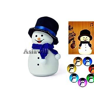 Asiawill USB wiederaufladbares Silikon Nachtlicht Schneemann LED Nachtlicht Silent & Musik-Modi, 7 Farbwechsel und feste Leuchtmodi, Tischlampe für Kinder, Weihnachtsgeschenk John