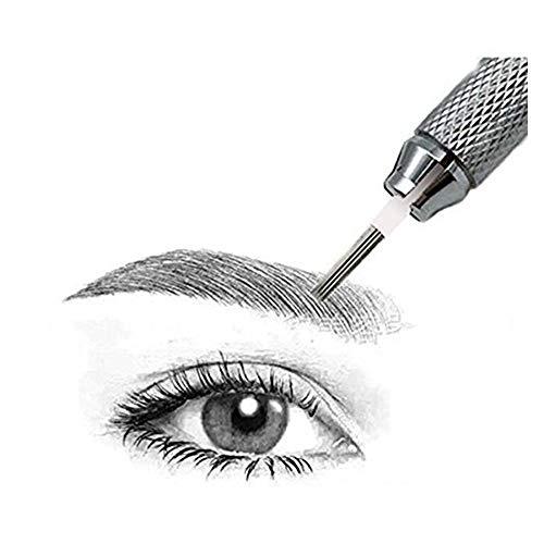Pinkiou 50 pièces en acier inoxydable permanente aiguilles de tatouage de maquillage pour 3D Microblading Eyebrow Tattoo Pen (5R)