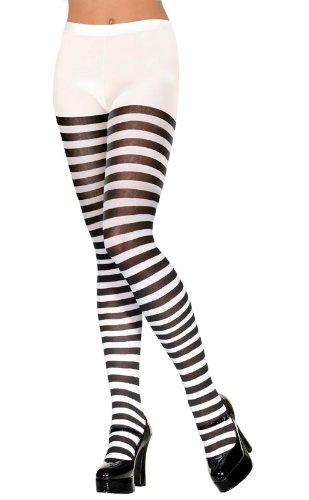Gestreifte sexy Strumpfhose Nylonstrumpfhose Gr. 34-40 (Alice Madness Returns Cosplay Kostüm)