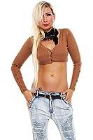 10141 Fashion4Young Damen Feinstrick-Bolero V-Ausschnitt Jacke Jäckchen verfügbar in 8 Farben Gr. 34/36/38