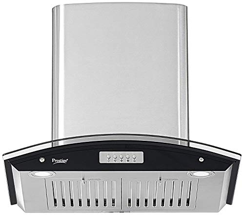 Prestige 1000 m³/hr Curved Glass Kitchen Chimney (GKH 600 CS-Plus, Baffle Filters, Silver)