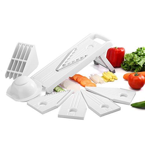 topop Aufschnittmaschine von Gemüse, Küche Allesschneider mit 5Edelstahl Klingen, Veg Hobel Julienne, Allesschneider Aufschnittmaschine von Kartoffeln für die Vegetarier/Celiaci/Paleo/Diät Langsame des Kohlenhydrat