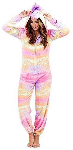 Damen Fairisle Einteiler Fleece Overall mit Kapuze Einteiler Hausanzug Bademantel Schlafanzüge Mädchen Damen - Rainbow Einhorn, M