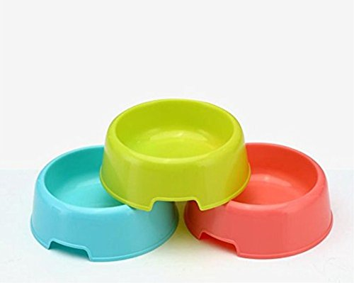 Vikenner Round Pet Dog Cat Plastic Bowl Durable Food Drink Feeder Bowl Candy Colors Feeding Dish Bowl(Blue) 4