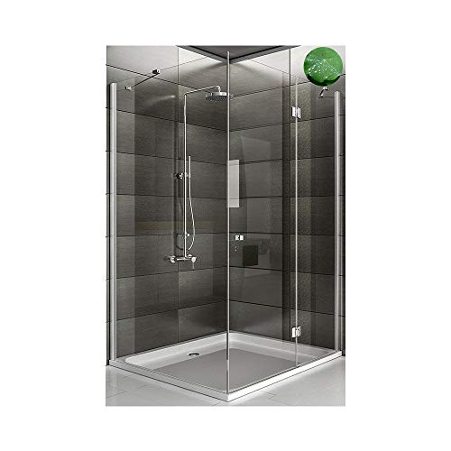 Duschabtrennung Eck Glasdusche Hochwertige Dusch mit Glasdveredelung - Trennwand ESG-Glas