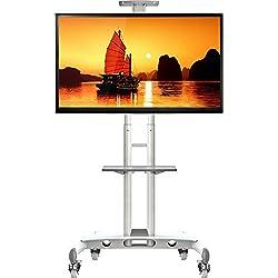 """NB AVA1500 blanc - Pied à roulettes réglable pour TV LCD / LED / plasma 81 cm -165 cm (32"""" - 65"""") jusqu'à 45,5 kg"""