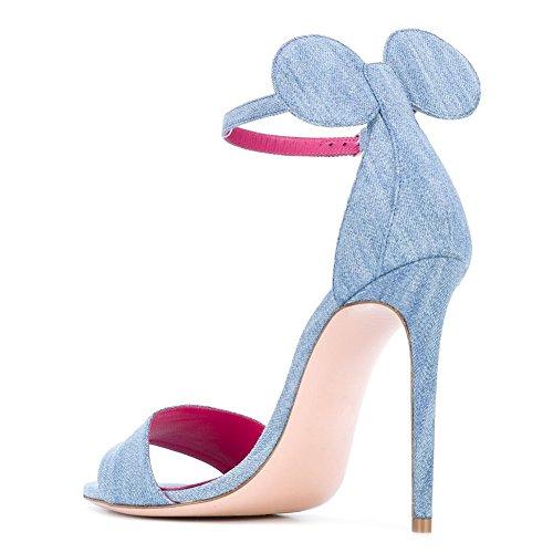 Damen Open Toe Sandalen High-Heels Stiletto Schuhe Closed Back mit Ohr Cowboy Blau
