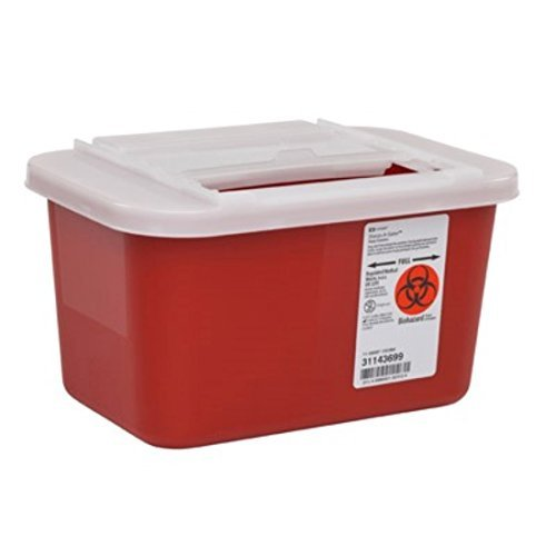 Kendall Sharps Container 1 Gallon Container Red With Clear Lid - Model 31143699 by Kendall Healthcare - Red Sharps Container