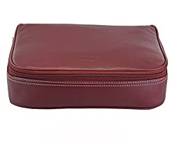 Adamis Leather Travel Toiletry Pouch cum Cosmetic Organizer