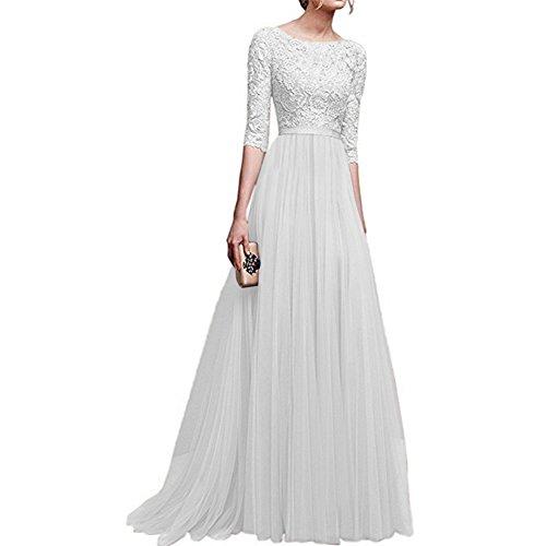ishine Ballkleid Damen Lang A-Linie Abendkleid mit Ärmel Brautjungfernkleid Elegante Brautkleid...