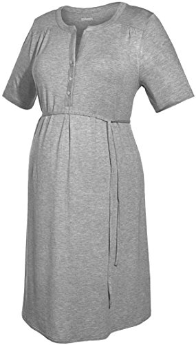 Esmara® Damen Umstands-Kleid, Kurzarm (grau Melange, Gr. S 36/38)