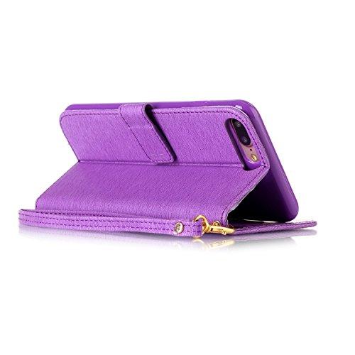 iPhone 7 Plus Hülle, iPhone 7 Plus Neo Hülle Case, iPhone 7 Plus Leder Brieftasche Hülle Case,Cozy Hut iPhone 7 Plus Leder Hülle iPhone 7 Plus Ledertasche Brieftasche Schutz Handytasche mit Standfunkt lila Blume
