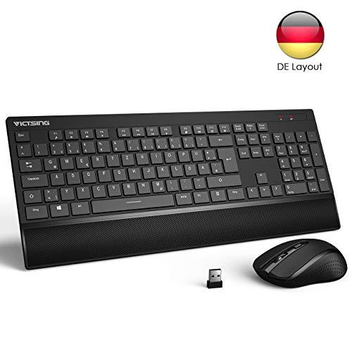 VicTsing Tastatur Maus Set Kabellos, Maus und Tastatur QWERTZ Deutsches Layout PC Tastatur kabellos, 2,4 GHz Wireless Tastatur, USB Empfänger, Lange Akkulaufzeit für Laptop, PC,Schwarz -