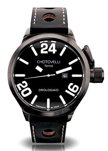 Chotovelli Italian Navy Men's Automatic Watch Analogue Display Black Leather Strap 79.11