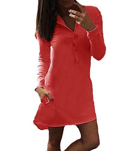 Auxo Femme Sexy Col V Irrégulier Manches Longues Lâche T-shirts Robe Casual Long Chemises Rouge