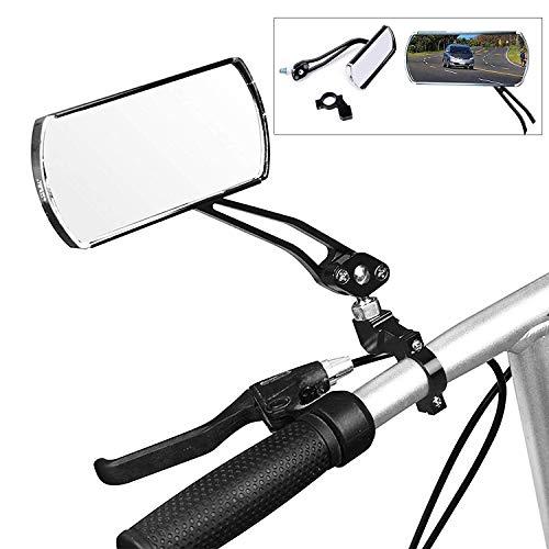 wishing Fahrrad-Rückspiegel, 2 Stücke Fahrradspiegel Fahrrad Radfahren Rückspiegel 360-Grad drehbar 125 x 50 mm flachen Spiegel für MTB Fahrrad,Rollstuhl,Mofa, Rollator, Rennrad, E-Bike