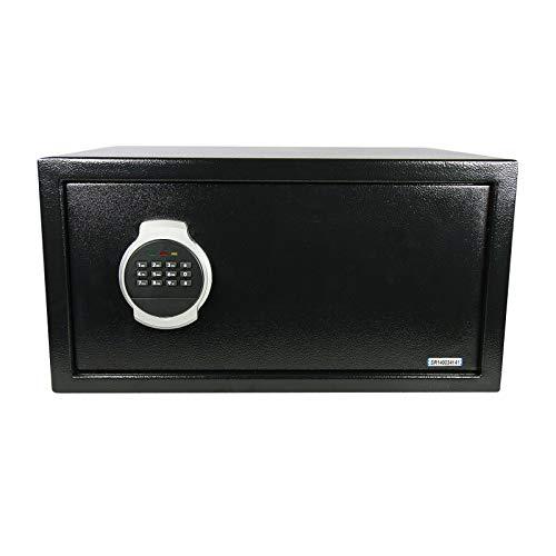Domino Tresor Safe 44x23x38cm inkl. Montagematrial | Elektronik-Zahlenschloss | LED | Laptop Möbeltresor Schwarz -