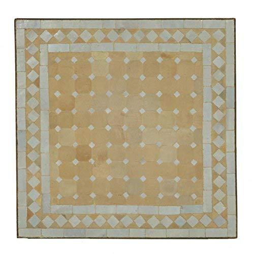Casa Moro Mediterraner Gartentisch marokkanischer Mosaiktisch 45 x 45 cm Weiss terrakotta mit Gestell H 55 cm  Kunsthandwerk aus Marrakesch  Bistrotisch Mosaik-Kunst Balkontisch  MT2022