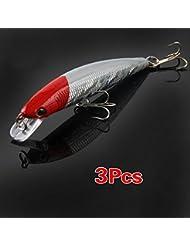 SODIAL(R) 3 x Senuelos Cebo Gancho de Pesca Vibracion 100mm