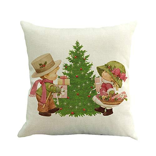 Riou Kissenbezuge Weihnachten Kissenhülle Dekokissen Fall Throw Pillow Covers Bettwäsche Für Autos Sofakissen Startseite Dekorative Weihnachten Baumwolle Leinen Sofa Home Taille Kissenbezug (Weiß F, 45 x 45cm)