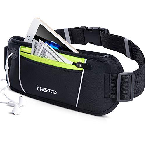 [Sport Hüfttasche] FREETOO Gürteltasche flache Bauchtasche mit Kopfhöreranlass passt alle Handys unter 5,5 Zoll MUST HAVE Accessoire für Damen und Herren auf Sport und Outdoor Aktivitäten anwenden