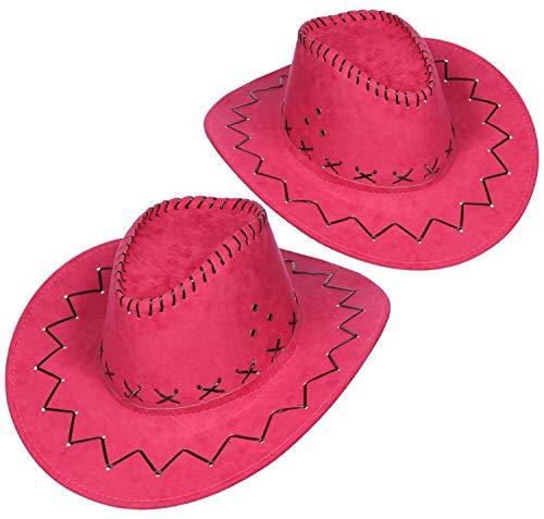 com-four® 2-teiliges Hut Set für Cowboys - Westernhut in pink - Kopfbedeckung zu Karneval, Fasching, Halloween, Mottopartys (02 Stück - Cowboy pink) (Für Mädchen Halloween-kostüme Dezente)