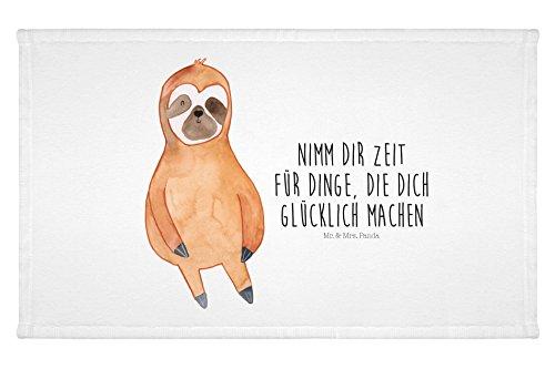 Mr. & Mrs. Panda Gäste Handtuch Faultier Zufrieden – 100% handmade in Norddeutschland – Faultier, Faultiere, faul, Lieblingstier, Pause, relaxen, Glück, glücklich, zufrieden, happy Gästehandtuch, Handtuch, Handtücher