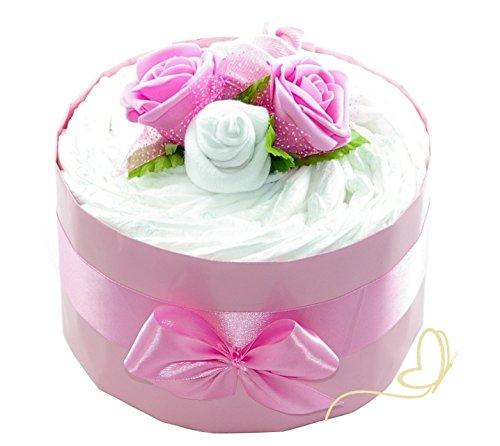 rosa ROSENBLÜTE Pampers New Baby - Geschenk zur Geburt Girl - Zuckersüße Windeltorten by dubistda (Windeltorte Für Mädchen)