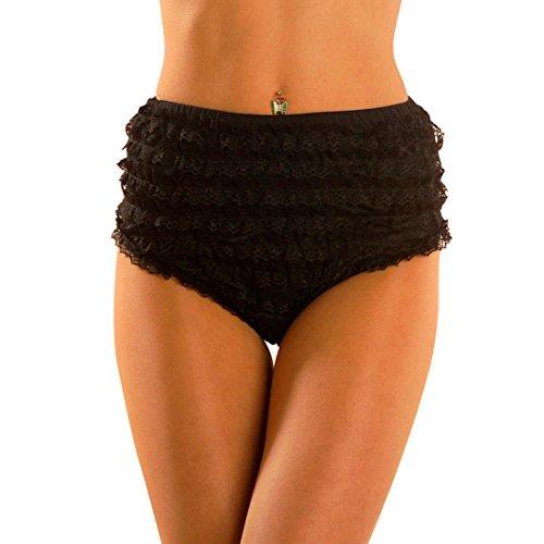 NET TOYS Culotte sexy con volants panty nero burlesque taglia mutandine pizzo per balletto - S 40/42