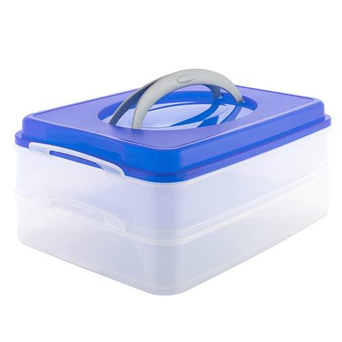Partycontainer Transport-Box mit Tragegriff Kuchenbehälter und Lebensmittelbox mit 2 Etagen und Hebeeinsatz Aufbewahrungsbox Aufbewahrungsbehälter 40x30x18 cm (Geburtstag-kuchen-deckel 18)