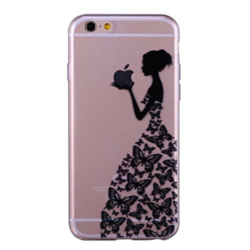 iPhone 6/6S Plus 5.5 Case TPU Gomma Morbida Trasparente Silicone Ultra Sottile Slim Disegno Personalizzato Cartoni Animati (Giraffa) Ragazza di farfalla nero