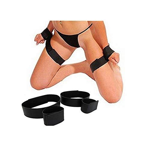 OdeJoy 2 Paare Handschellen Hand Fuß Schnalle Bein Schenkel Riemen Sexy Knechtschaft Einstellen Einschränkungen Fetisch Erwachsene Sex Spielzeug Bündeln Einschränkungen Spielzeug (Schwarz, 2 Pair)