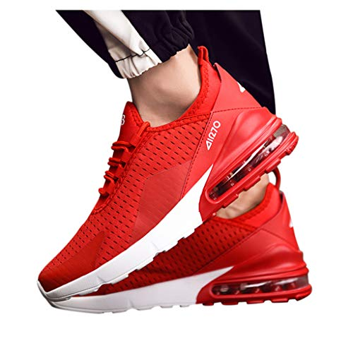 COZOCO Herren Sneakers Mesh Ultraleichte, atmungsaktive, sportliche Laufschuhe(rot,42 EU)