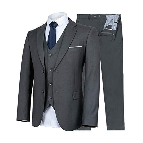 WULFUL Herren anzug slim fit 3 stück klage-blazer mit zwei knöpfen tuxedo geschäft hochzeit jacken westen & hosen groß grau -