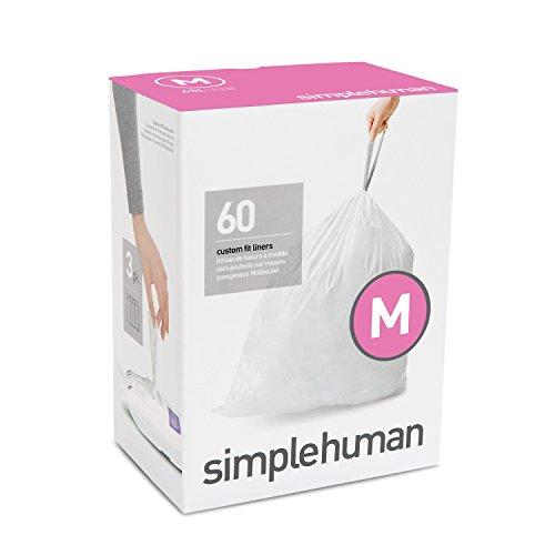 simplehuman Code M Plastic Custom Fit Bin Liner, Pack of 60, White