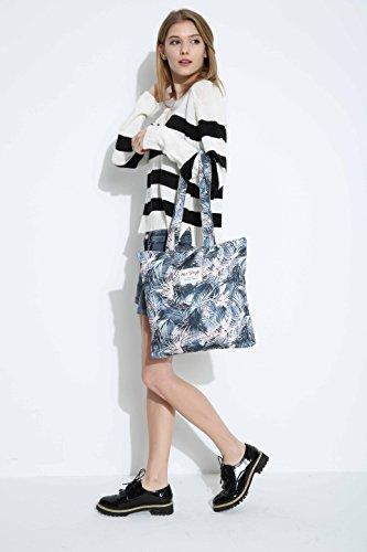 [HotStyle Fashion stampato] Plam lascia Borsetta da borsa casual per College School, S013, Grey (multicolore) - HTSUS013A S013A, Grigio