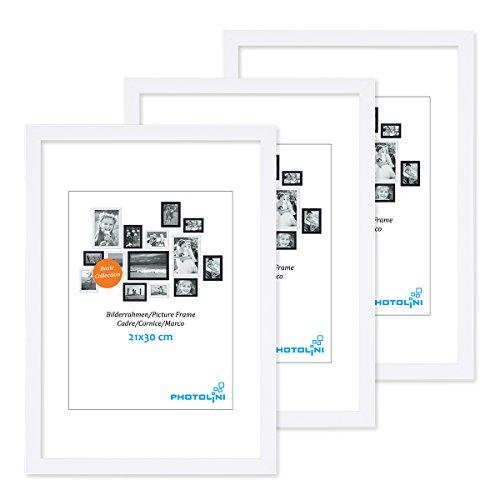 PHOTOLINI 3er Set Bilderrahmen 21x30 cm Din A4 Modern Weiss aus MDF mit Acrylglas/Portraitrahmen / Wechselrahmen