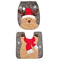 Sungpunet 2 PC/Sistema de Vacaciones de Navidad Baño Elk Cubierta de Asiento de Inodoro y alfombras para el hogar Decoración
