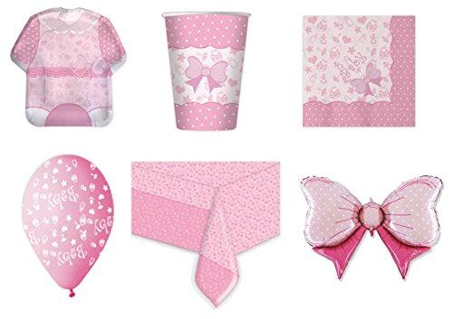 Koordinierte Mädchen Baby Girl Geburt Taufe Erste Geburtstag Pink Party Dekorationen–Kit N ° 12cdc- (24Teller, 24Gläser, 32Servietten, 1Tischdecke, 25Luftballons, 1Ball Foil)