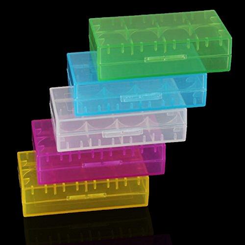 Hrph 5 Stück 18650 CR123A 16340 Hartplastik Transparent Batterie-Kasten-Kasten-Halter-Speicher -