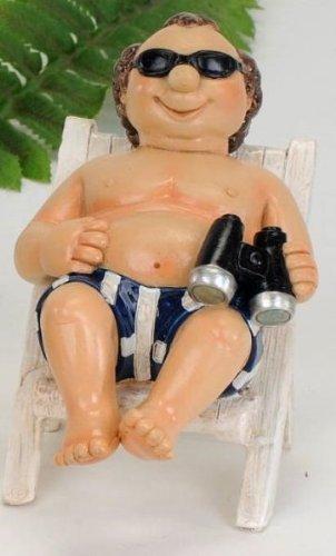 Witziger Urlauber auf einem Liegestuhl Dekofigur Strandfigur Urlauberpaar Geschenkidee Dekoidee (Urlauber)