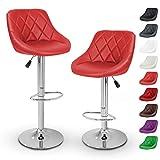 TRESKO Set di 2 Sgabelli-Bar Moderni, Sedia Bar, Sgabello Lounge con Schienale, 10 Colori Diversi, Cromato, Rotazione Libera a 360 °, la Regolazione in Altezza dei sedili 60,0-80,0 cm (2X Rosso)