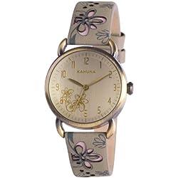Kahuna Women's Quartz Watch with Beige Dial Analogue Display and Grey PU Strap KLS-0252L