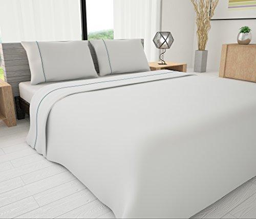 Livingston Home Neuheit Betten 625Fadenzahl Ägyptische Baumwolle-Mischung massiv Set mit Rohrleitungen Akzente Twin Tabelle Set, White/Teal, Queen