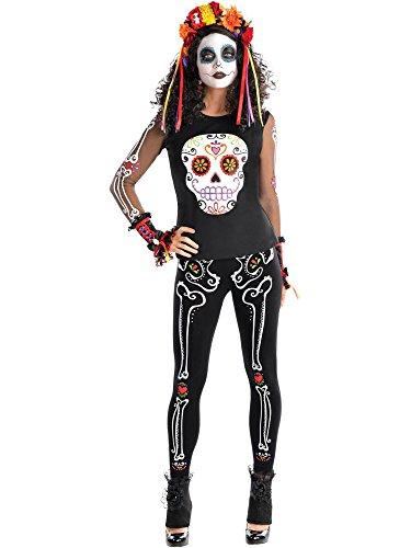 s T-Shirt Kostüm Accessoire Damen (Dia De Los Muertos Kostüm Für Halloween)